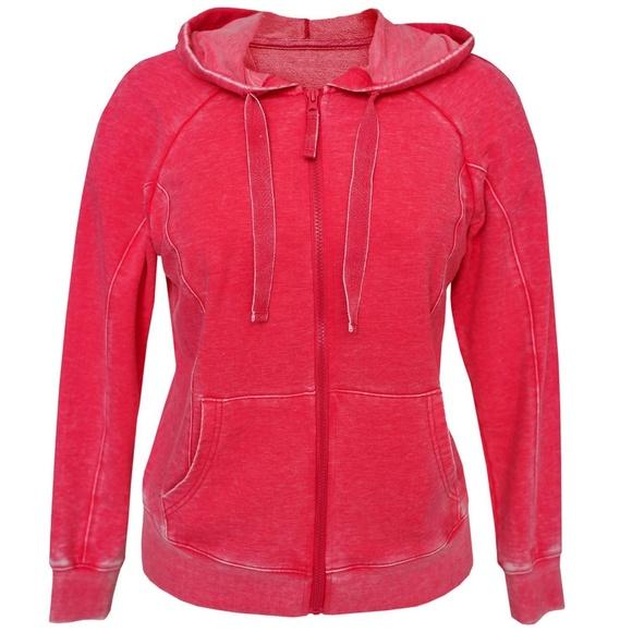 New Women/'s Green Tea Mineral Wash Hoodie Zip Jacket AZALEA XXL